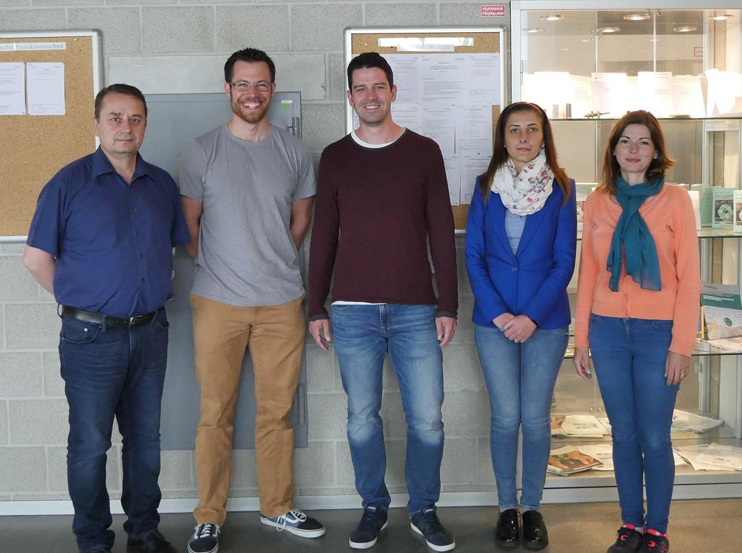 A photo taken during the Team 1 - Meeting 5; from left to right: Dr. Nicolaie Pavel, Lukas Schröder, Mark Bärwinkel, Mrs. Gabriela Croitoru, Mrs. Catalina Alice Brandus