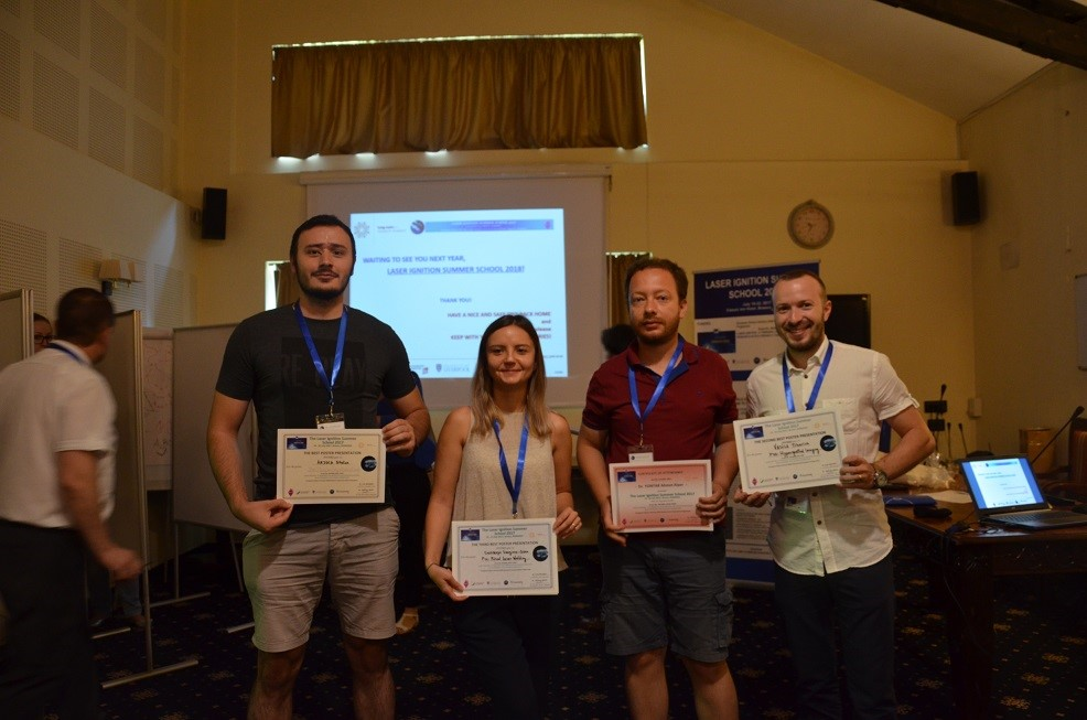 The winners of the poster contest and the special prize are presented; from left to right: Dr. ARJOCA Stelian, Mrs. CHIOIBASU Georgiana-Diana, Dr. YONTAR Ahmet Alper and Dr. VASILE Tiberius. (03a. LASIG-TWIN_LISS'17_Awards.JPG)